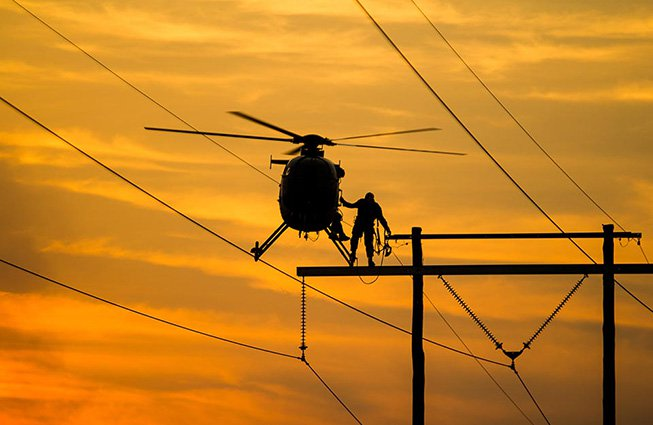 Missouri Transmission Line Construction Helicopters